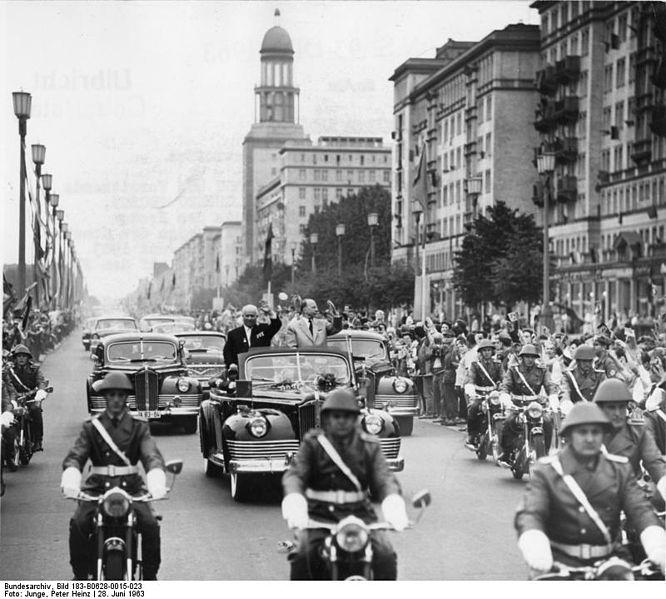 Walter Ulbrichts and N.S. Chruschtschow drive through East Berlin