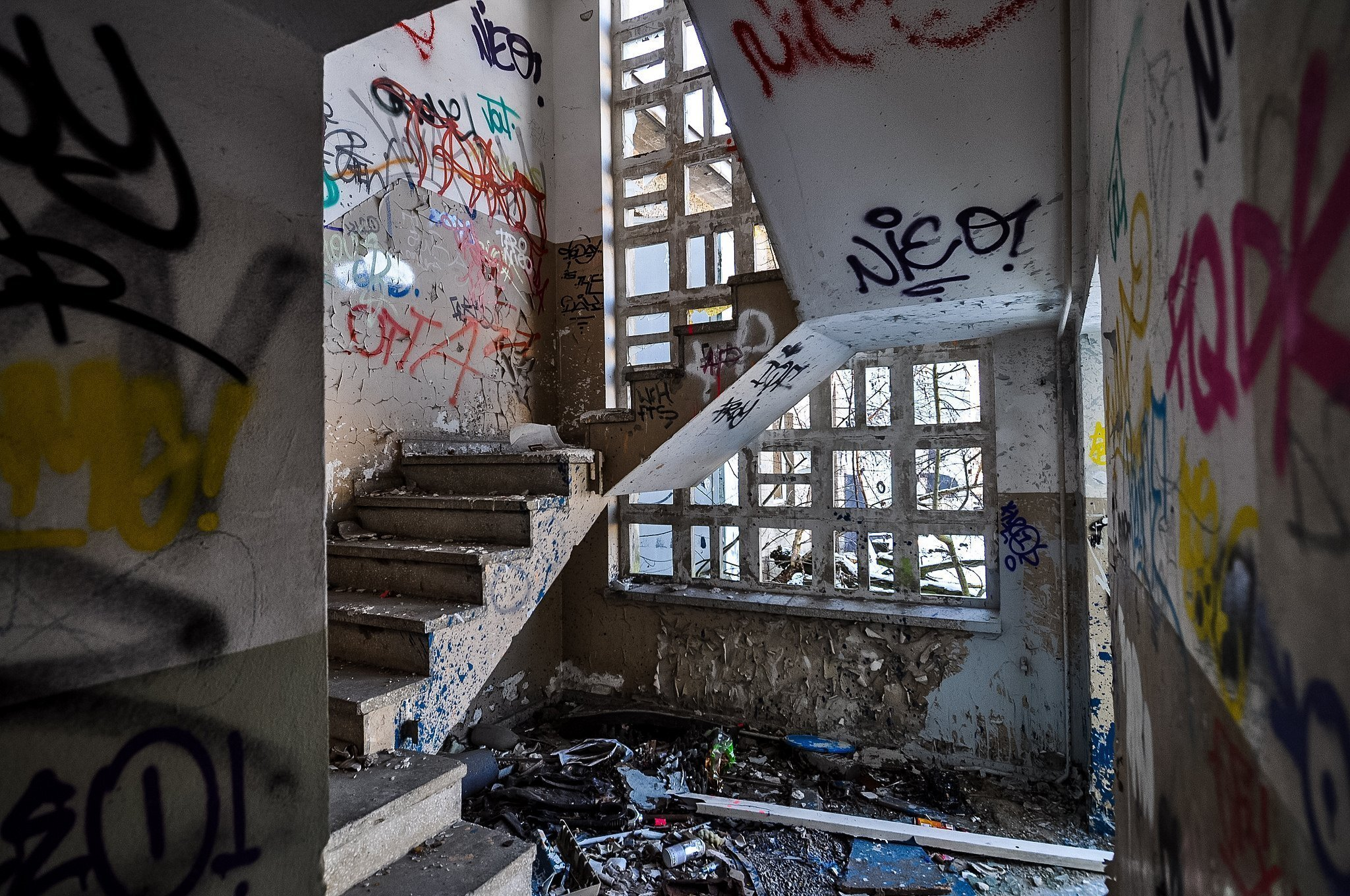 abandoned factory milchhof veb milchhof ddr staircase