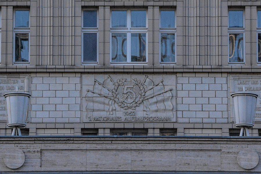ddr symbole karl marx allee berlin germany linke seite stalin allee