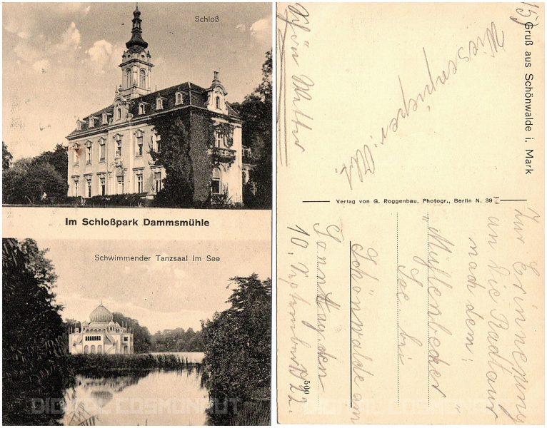 schloss dammsmuehle postkarte 1922