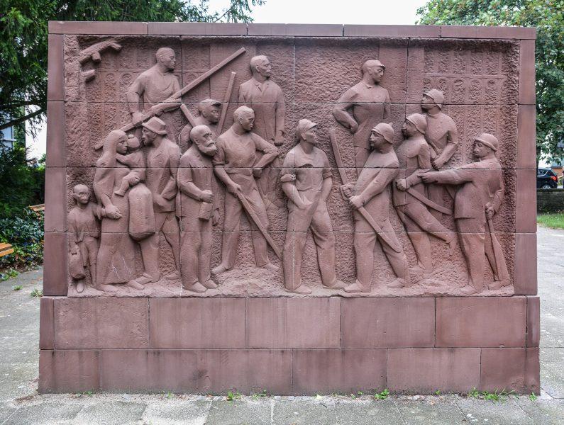 Karl Marx Erinnerungsstaette Stralau berlin germany relief glassmacher streik