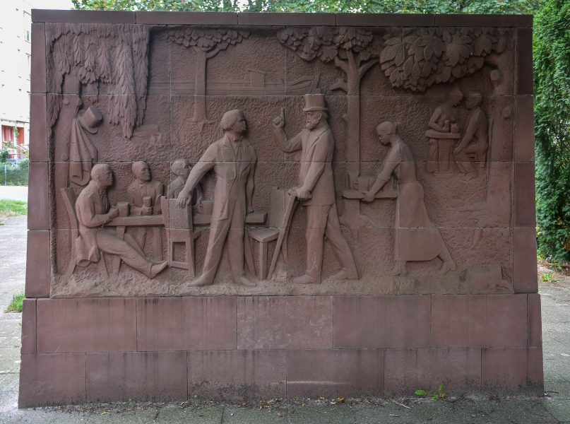 Karl Marx Erinnerungsstaette Stralau berlin germany relief junger karl marx