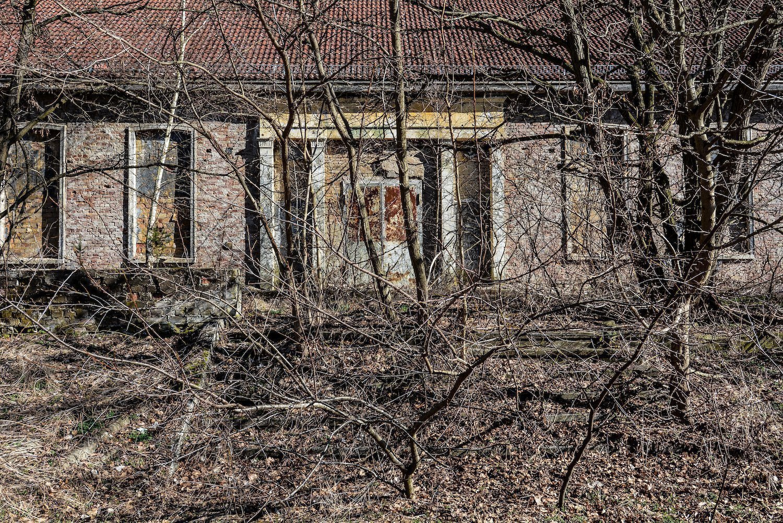 blocked up theather entrance nazi soviet military base abandoned urbex urban exploring loewen adler kaserne elstal wustermark roter stern kaserne germany lost places