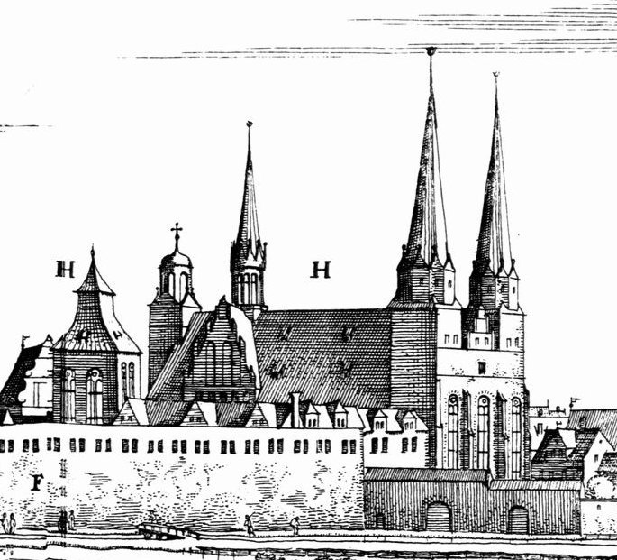 The Berliner Dom in 1652 Etching by Caspar Merian