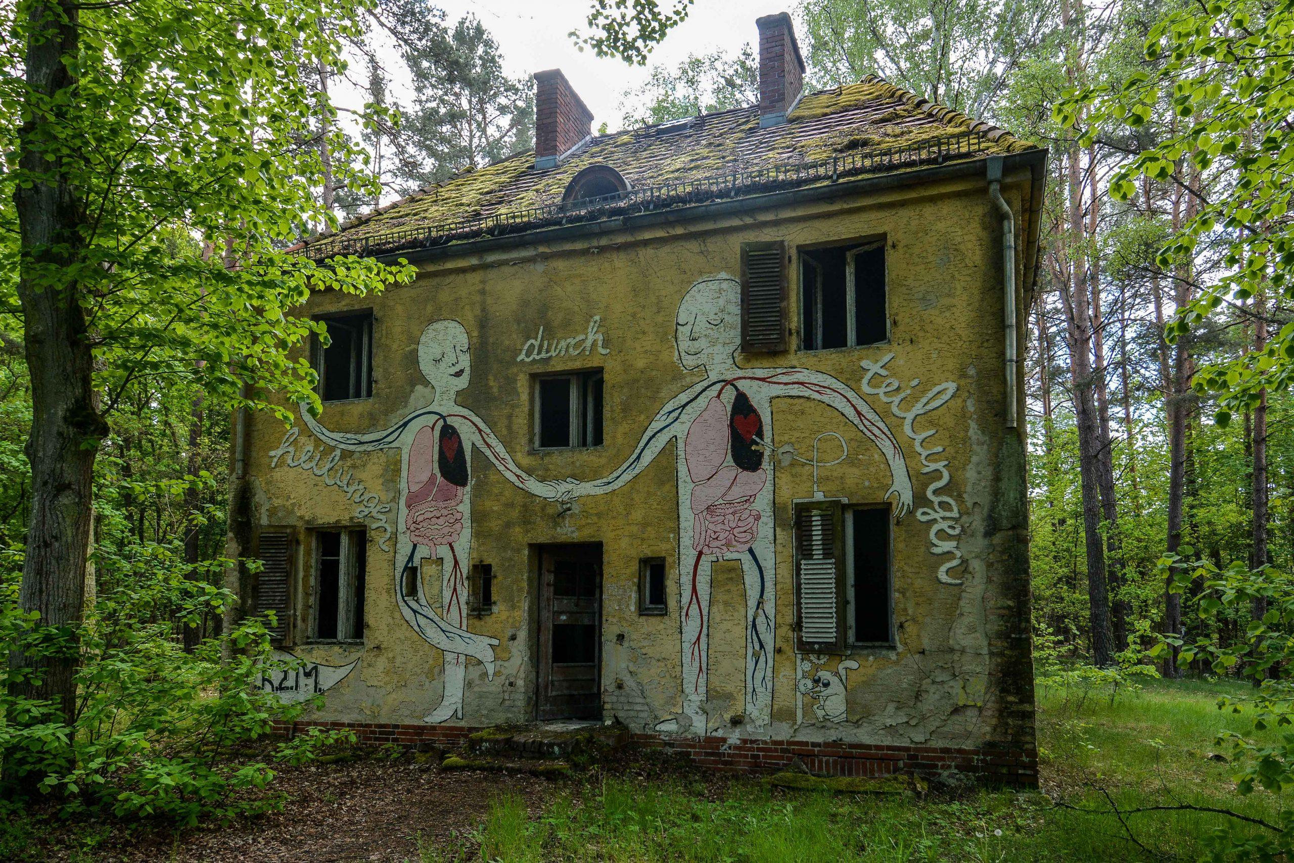 heilung durch teilung graffiti tuberkulose heilstaette grabowsee sanatorium hospital oranienburg lost places abandoned urbex brandenburg germany deutschland