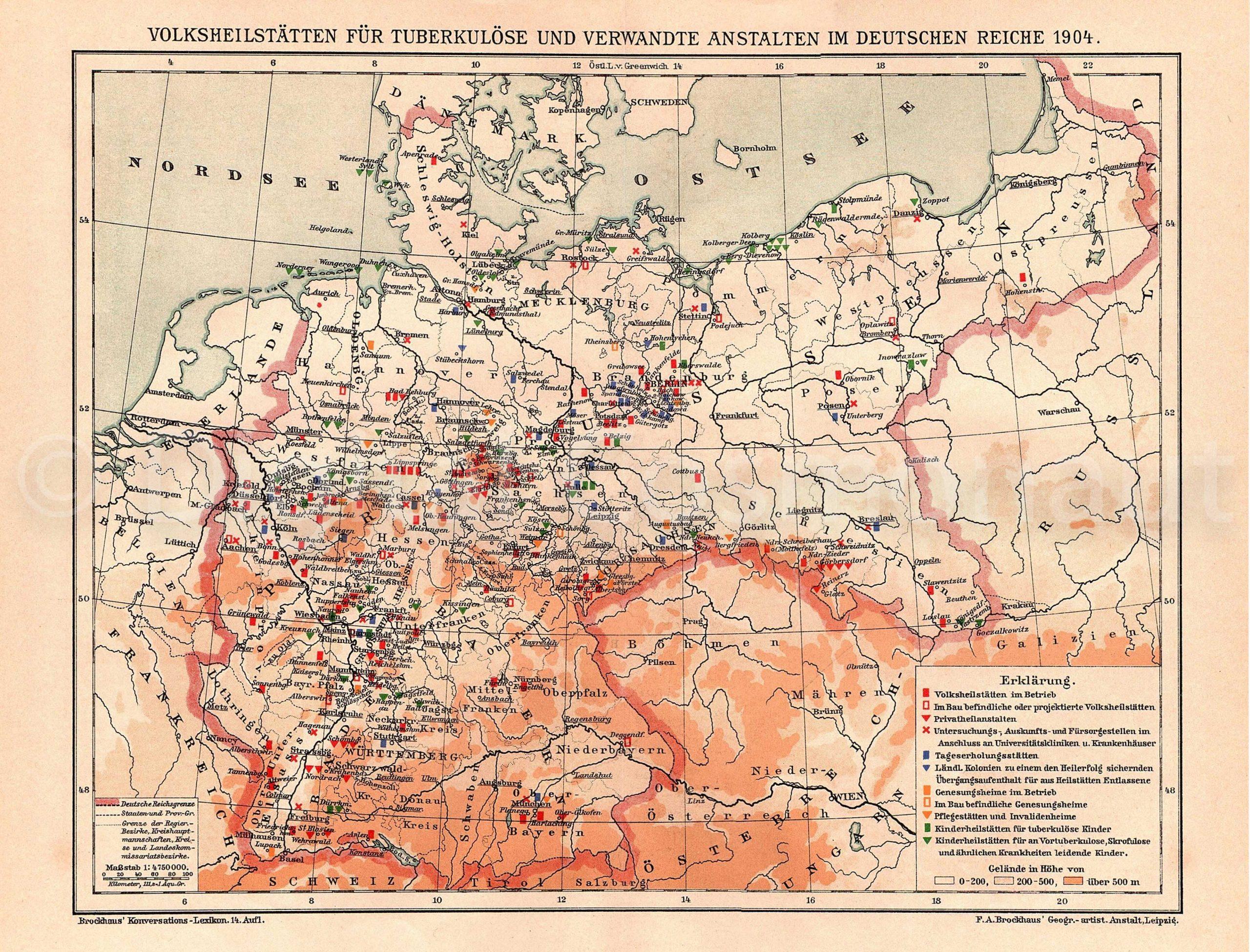 volksheilstaetten fuer tuberkuloese und verwandte anstalten im deutschen reiche 1904 map of tuberculosis sanatoriums in the german reich 1904
