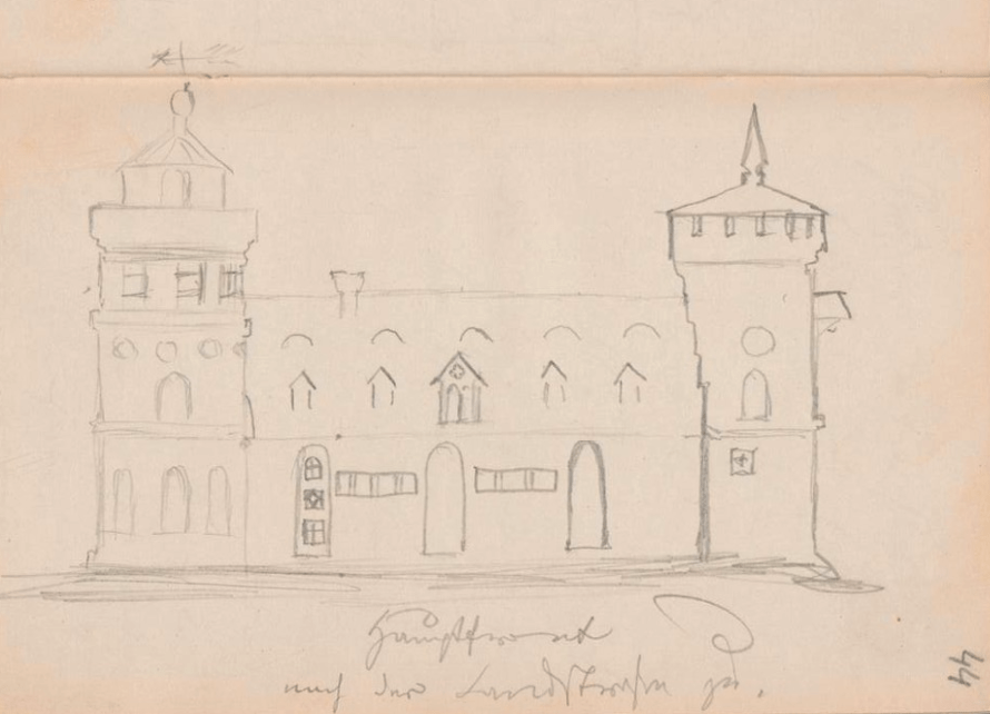 kornspeicher hauptfront nach der landstrasse zu gentzrode fontane zeichnung 1864