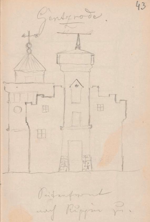 kornspeicher turm gentzrode fontane zeichnung 1864 seitenfront nach ruppin zu
