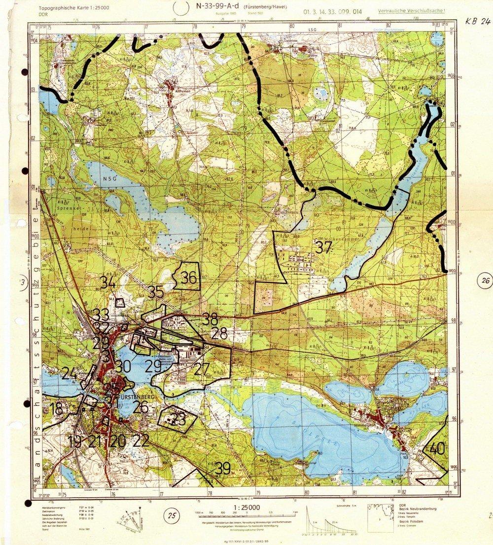 DDR Militär Landkarte Sowjetische Stützpunkte Fürstenberg