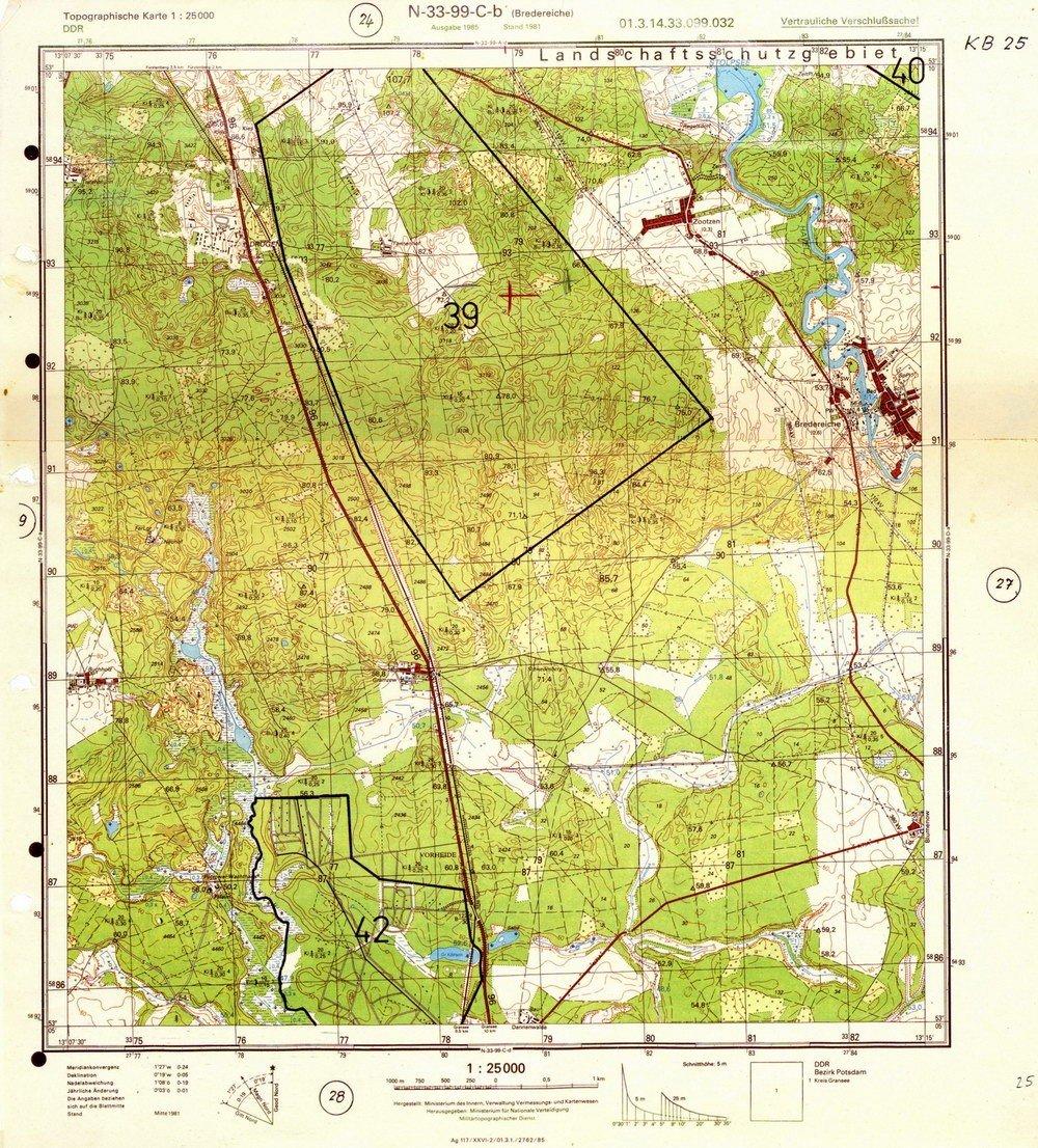 DDR Militär Landkarte Sowjetische Stützpunkte Drögen