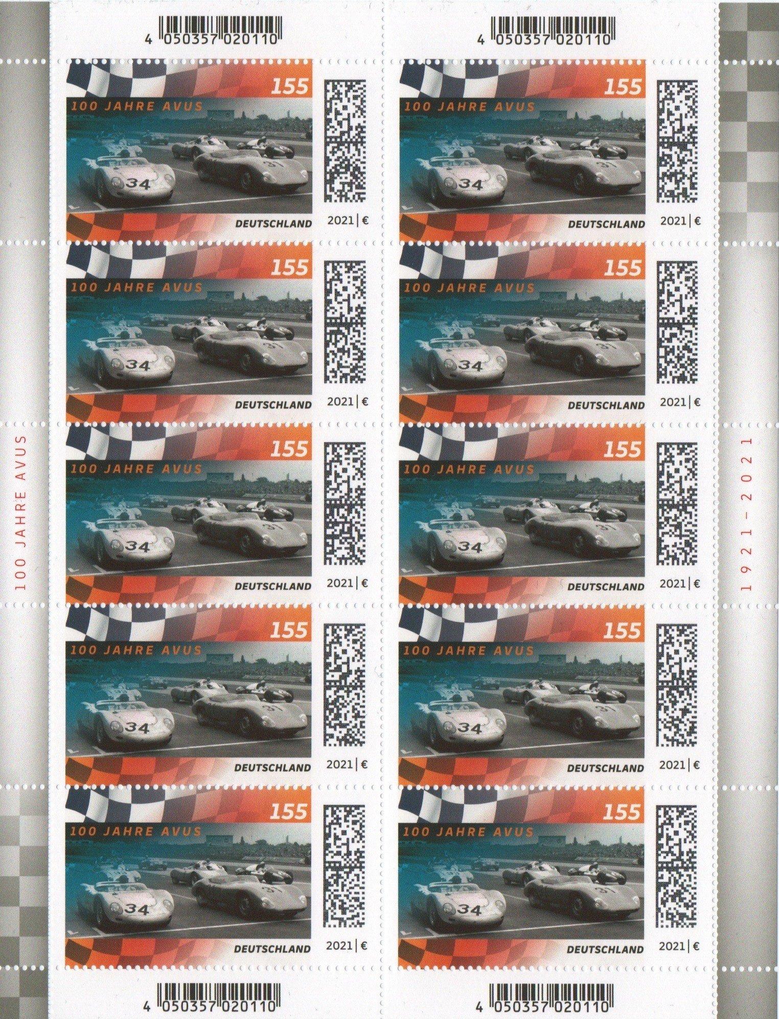 deutsche post 100 jahre avus briefmarke